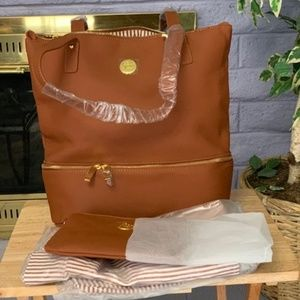 Four Piece Tan Leather Tote